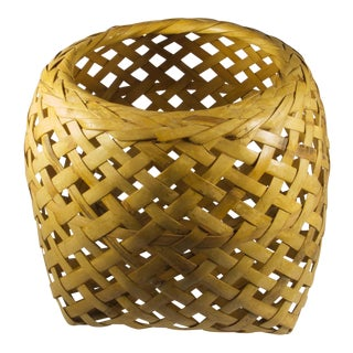 1970s Boho Chic Woven Basket For Sale
