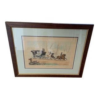 """1960s """"Chaise De Poste"""" English Hunt Scene Lithograph, Framed For Sale"""