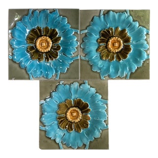 French Majolica Flowers Tiles, circa 1890 For Sale