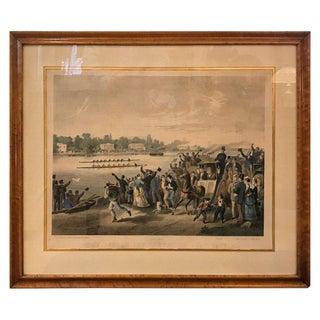 1871 Antique English Hand Colored Copper Engraving Print For Sale