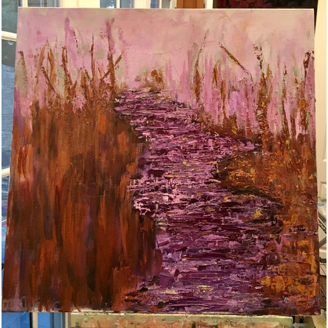 An original oil painting on professional canvas by JJ Justice. Abstract river in the woods. Purple, green, gold, pink,...