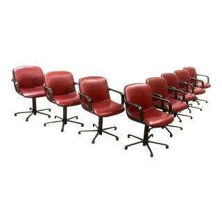 Set of 8 Mid-Century Burgundy Red Leather Executive Chairs by Comforto For Sale