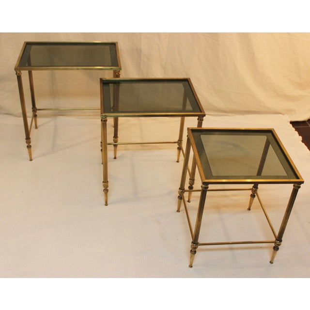 Gold 1950's Modern Italian Brass Nesting Tables - Pair For Sale - Image 8 of 10
