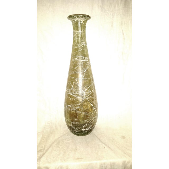 """Mid Century 1960's Glass Vase with smokey glass and white spaghetti drizzle string decoration. Tall measuring 16"""" high...."""