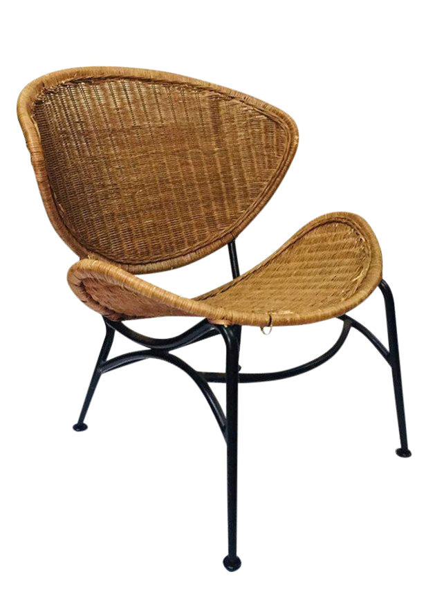 1970s Vintage Rattan Clam Shell Chair