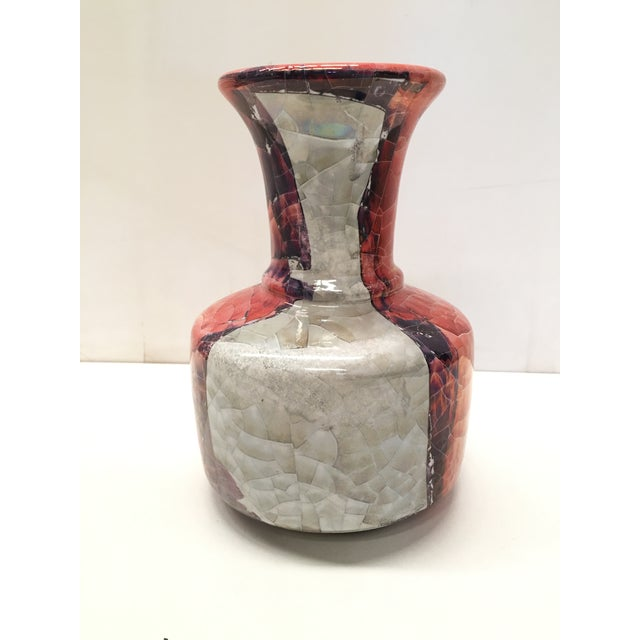 20th Century Spanish Craquelè Stonware Glazed Vase, Red, Pinks and Greys For Sale - Image 9 of 11