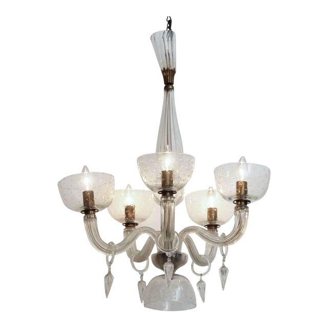 Segusa Mid-Century Modern Blown Glass Chandelier For Sale
