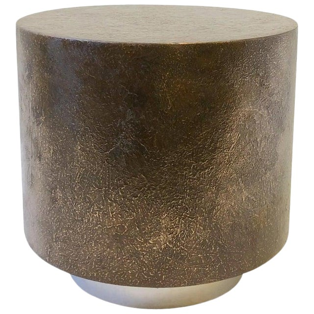Bronze and Polish Stainless Steel Drum Side Table by Steve Chase For Sale