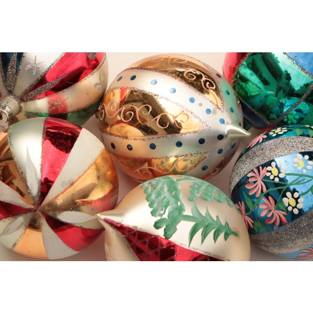 Giant Vintage Blown Glass Ornaments - Set of 6 For Sale - Image 4 of 7