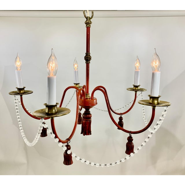 Mid-Century Modern Mid-Century Modern Red Painted Iron 5 Arm Chandelier For Sale - Image 3 of 8