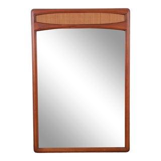 Lane Rhythm Mid-Century Modern Cane and Walnut Framed Mirror For Sale