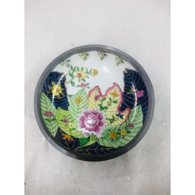 Ceramic Tobacco Leaf Pattern Pewter Encased Bowl, Hong Kong For Sale - Image 7 of 7