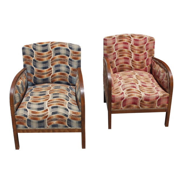 French Art Deco Sold Mahogany Speed Armchairs - A Pair - Image 1 of 11