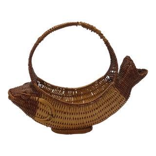 Vintage Bohemian Fish Shaped Wicker Basket