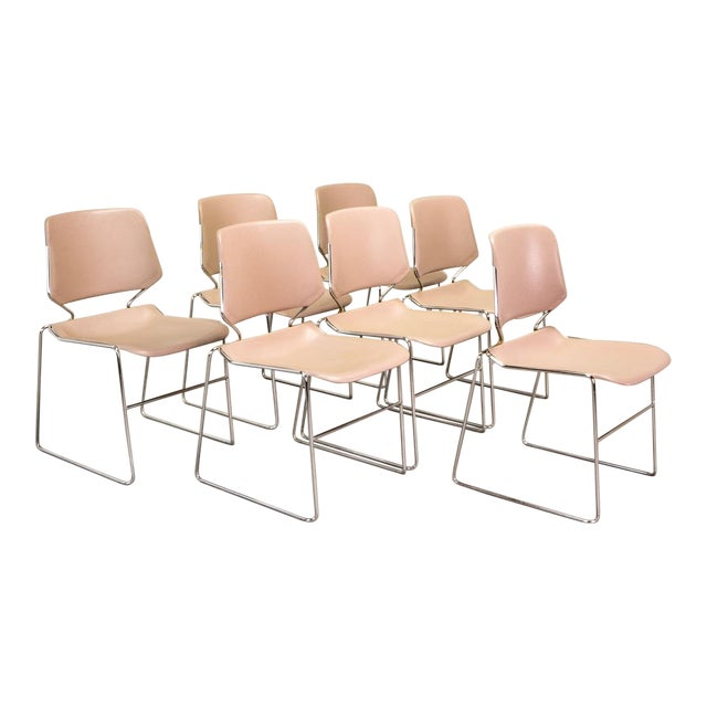 Set of Seven Mid-Century Muted Pink Stackable Dining Chairs by Thomas Tolleson for Matrix Krueger, Usa, 1970s For Sale