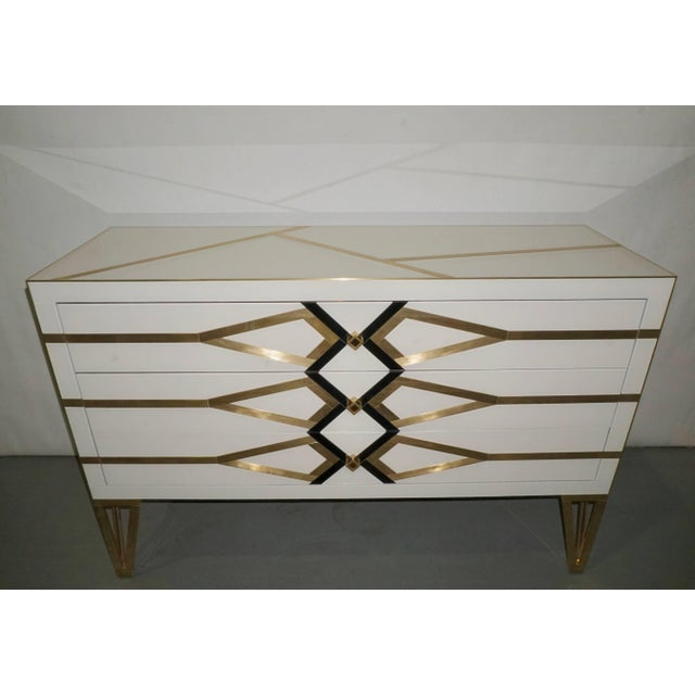 Contemporary Italian Art Deco Gold Brass Credenza For Sale - Image 4 of 13