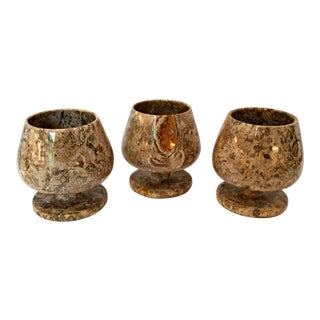 Carved Italian Crinoid Fossil Jasper Stone Brandy Snifters - Set of 3 For Sale