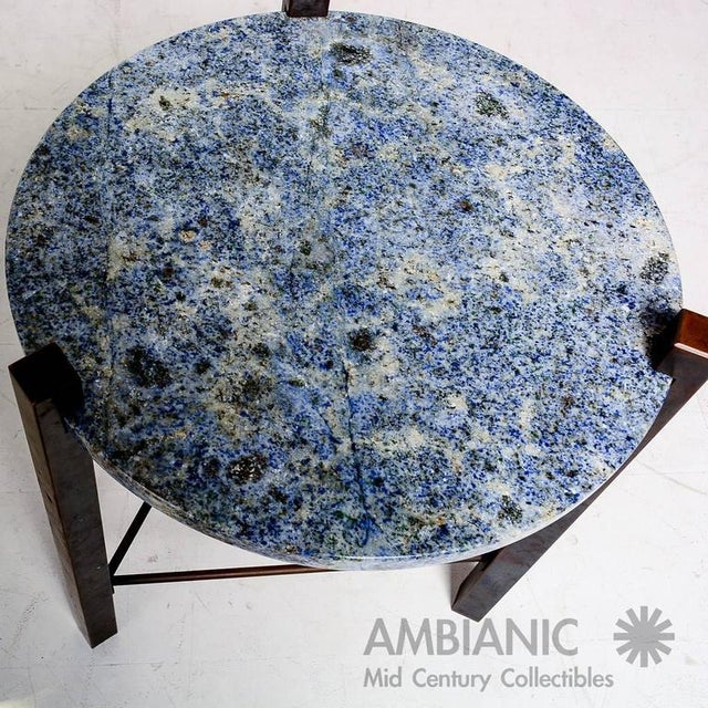 Blue Granite & Solid Bronze Side Table For Sale - Image 9 of 10