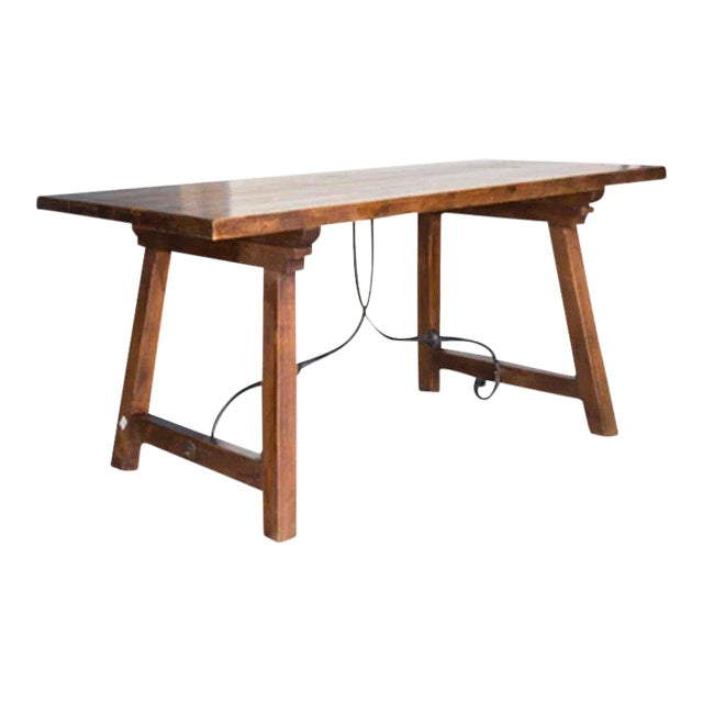 Spanish Beech Farm Table Iron Stretcher 19th C. For Sale