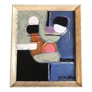 Original Vintage Abstract Painting in Mid Century Frame For Sale