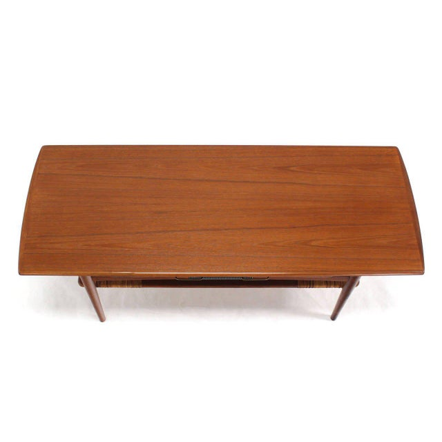 Danish Modern Teak Coffee Table Cane Shelf Rolled Edges 4 Storage Drawers For Sale In New York - Image 6 of 9