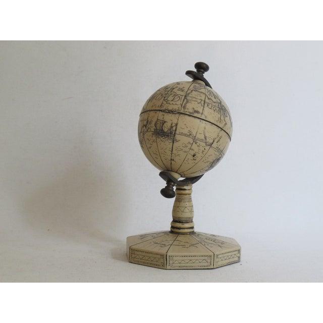 Faux Ivory Carved Resin Desk Globe - Image 5 of 5