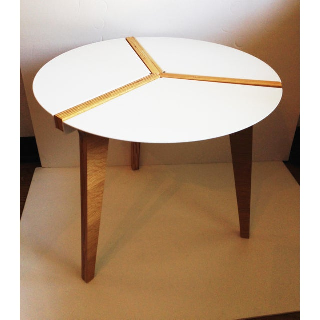 CB2 White Enamel & Bamboo Side Table - Image 2 of 11