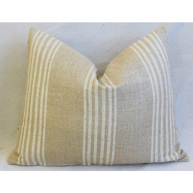 """Early 21st Century Tan & White French Cotton & Linen Ticking Feather/Down Pillows 21"""" X 16"""" - Pair For Sale - Image 5 of 12"""