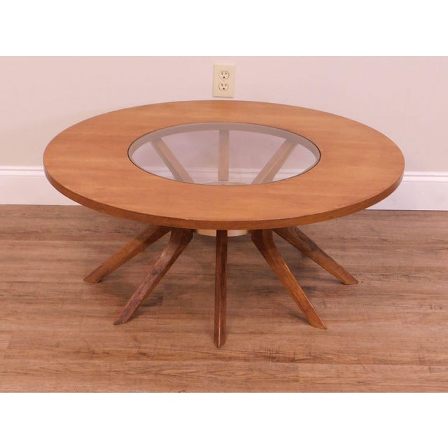Mid-Century Modern Broyhill Brasilia Mid Century Modern Walnut Cathedral Coffee Table For Sale - Image 3 of 12