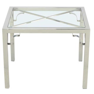 Chrome Parsons Style Chinese Chippendale X-Top End Table For Sale