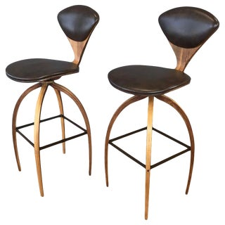 Pair of Norman Cherner for Plycraft Tall Walnut Swivel Barstools, 1960s For Sale