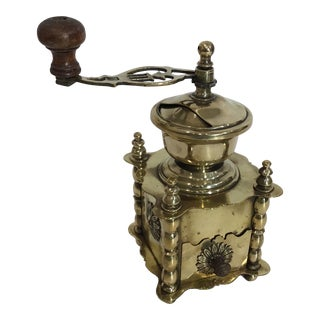 English Brass Coffee Grinder For Sale