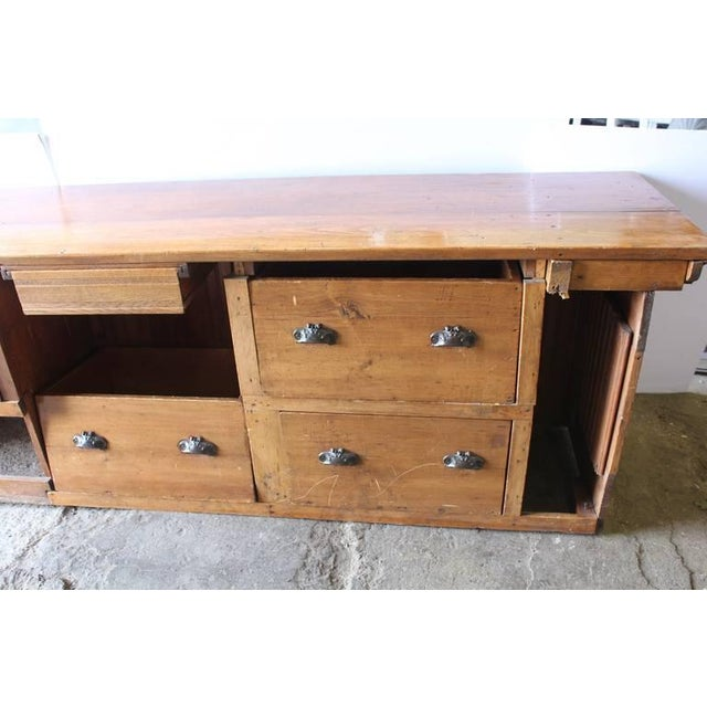 Rustic Early 20th C. Antique Store Wood Counter For Sale - Image 3 of 6