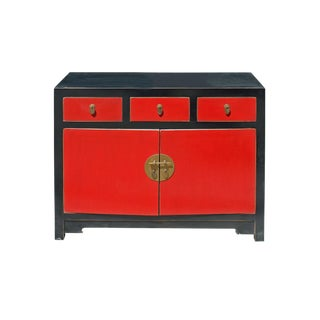Oriental Black & Red Lacquer Mid Side Table Foyer Cabinet For Sale