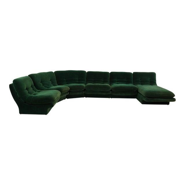 Mid-Century Modern Vladimir Kagen for Preview Hunter Green Velvet Sectional Sofa For Sale