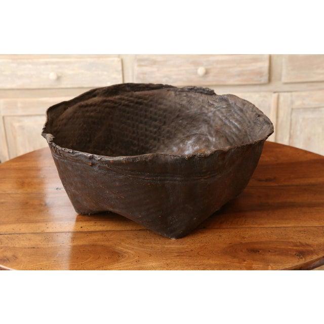 Antique Primitive Hide Basket For Sale - Image 9 of 11