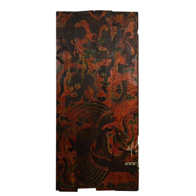 Antique Tibetan Painted Door Panel For Sale