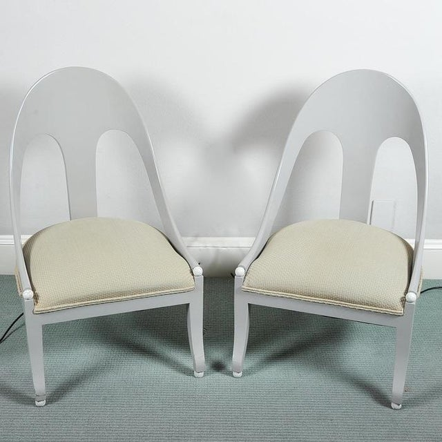Custom Contemporary Grey Arched Chairs - Pair - Image 2 of 8