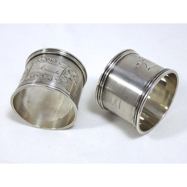 A Fine Quality Pair of Large Size Antique - Victorian Sterling Silver Wedding Napkin Rings. Hand engraved Features include...