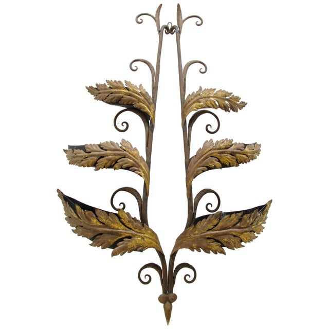 Wrought Iron and Gilt Garden Wall Hanging For Sale - Image 11 of 11