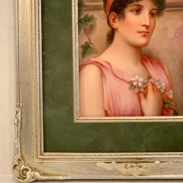 Fine German Painting on Porcelain of a Garden Muse For Sale - Image 11 of 13
