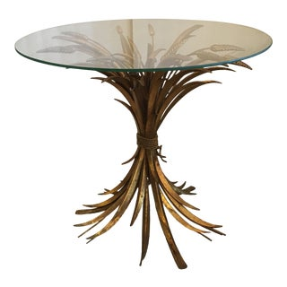 Gold Leaf Sheaf of Wheat Glass Top Side Table For Sale