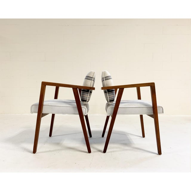 Mid-Century Modern Franco Albini for Knoll Model 48 Chairs in Calfskin and Isabel Marant Silk Wool For Sale - Image 3 of 9
