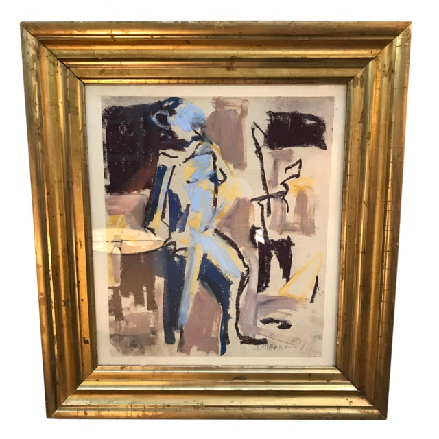 Contemporary Figurative Abstract Mixed-Media Painting, Framed For Sale - Image 4 of 4