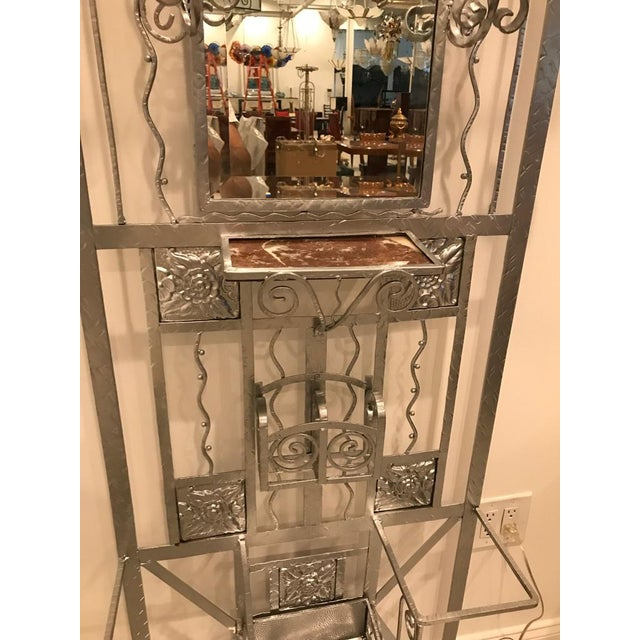 French Art Deco Hall Tree Coat Rack With Sabino Glass Light Sconce For Sale - Image 10 of 13