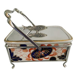 Antique Ceramic Sardine Dish With Silver Plated Lid For Sale