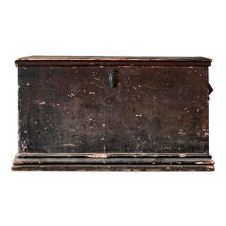 19th Century Green Painted Chest With Leather Handles For Sale