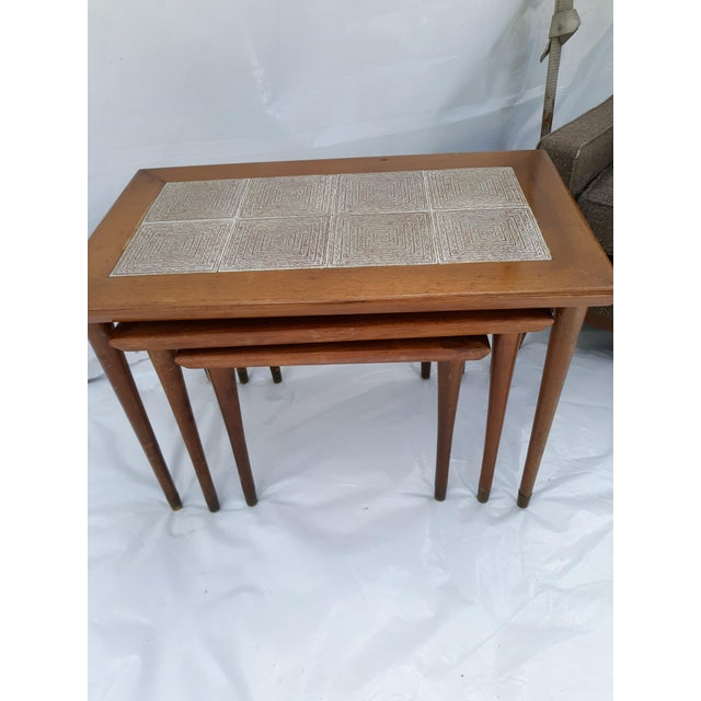 Mid-Century Modern Danish Modern Mahogany and Tile Set of 3 Nesting Tables For Sale - Image 3 of 10