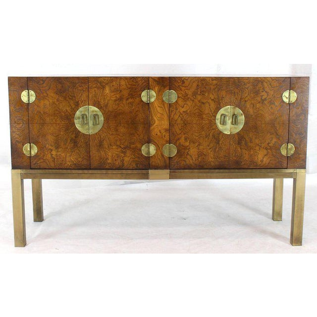 Burl Wood and Solid Brass Hardware Compact Double Doors Credenza For Sale - Image 11 of 11
