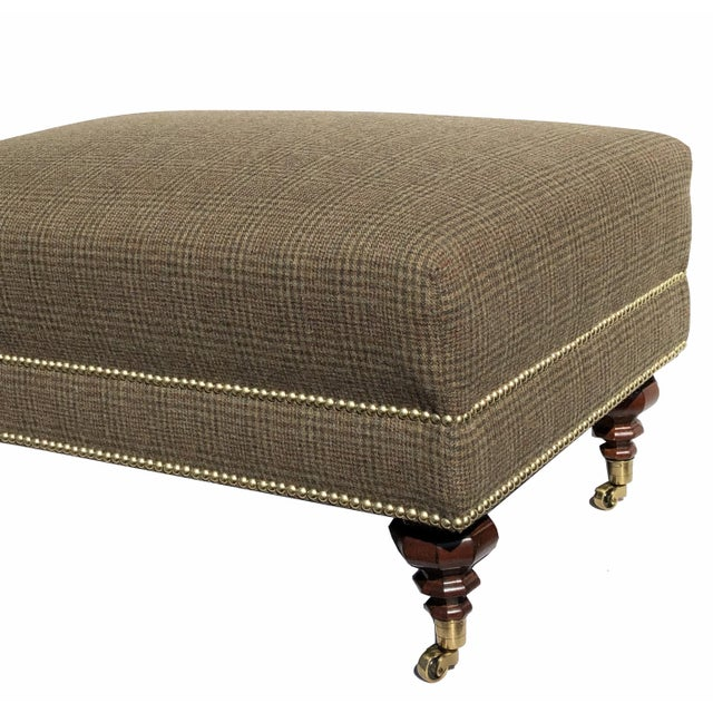 New 2020 Edwardian Bench Ottoman Brass Nails Solid Brass Casters Ralph Lauren Fabric For Sale - Image 4 of 6